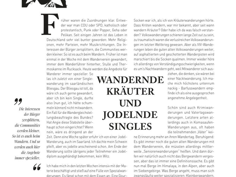 Manuel Andrack, Klartext: Wandernde Kräuter und jodelnde singles